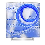 Moon Surfing 1 By Jrr Shower Curtain