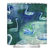 Moon Swans Shower Curtain