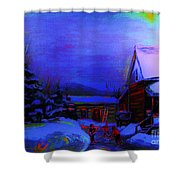 Moonglow On Powder Shower Curtain