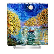 Moonlight Fishing Shower Curtain