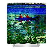 Moonlight Kayak Ride Along The Coastline Of The Lachine Canal Quebec Sea Scenes Carole Spandau Shower Curtain