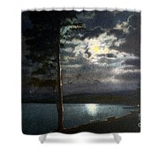 Moonlight On Yellowstone Lake Shower Curtain