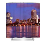 Moonlit Boston On The Charles Shower Curtain
