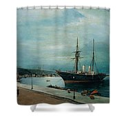 Moonlit Harbour Of Volos Shower Curtain