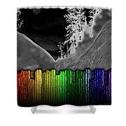 Moonlit Mountainside Behind Rainbow Fence Shower Curtain