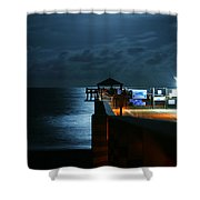 Moonlit Pier Shower Curtain by Laura Fasulo