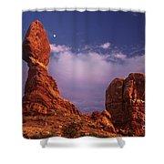 Moonrise At Balanced Rock Arches National Park Utah Shower Curtain