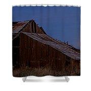 Moonrise Over Decrepit Barn Shower Curtain