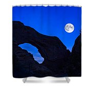 Moonrise Over North Window Arch Shower Curtain