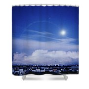 Moonrise Over Nova Harfa Shower Curtain
