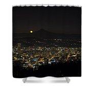 Moonrise Over Portland Oregon Cityscape Shower Curtain