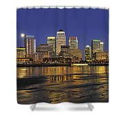 Moonrise Over River Thames Flowing Past Canary Wharf Shower Curtain