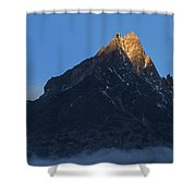Moonset And Alpenglow Over A Snow Peak Shower Curtain