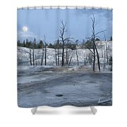 Moonset At Mammoth Terrace-yellowstone Shower Curtain