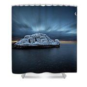 Moonset Before Sunrise The Lutsen Rock Shower Curtain
