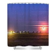 Moonset Over The Vla Shower Curtain