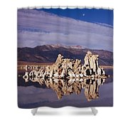 Moonset Over Tufa Shower Curtain