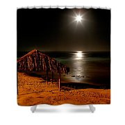 Moonset Over Windnsea Shower Curtain