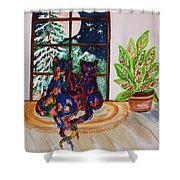 Moonstruck Cats - Winter Wonderland Shower Curtain