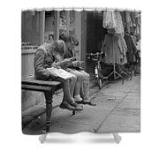 Boys Reading Comics In Moore Street Dublin Shower Curtain