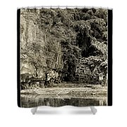Moored Boat By The River In Tam Coc Shower Curtain