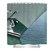 Moored Ships Bow With Retracted Anchor Abstract Shower Curtain