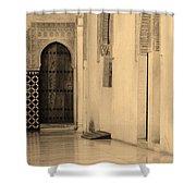 Moorish Walkway In Sepia At The Alhambra Shower Curtain