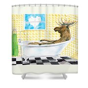 Moose Bath, Moose Painting, Moose Print, Bath Painting, Bath Print, Cottage Art Shower Curtain