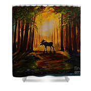 Moose Hideout Shower Curtain