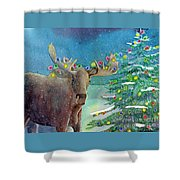 Moosey Christmas Shower Curtain