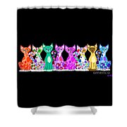 More Colorful Kitties Shower Curtain
