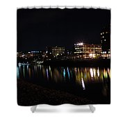 Morgantown Skyline At Night From The Waterfront Shower Curtain