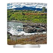 Moricetown Falls And Canyon Fishing Operation On The Bulkley River In Moricetwown-british Columbia  Shower Curtain