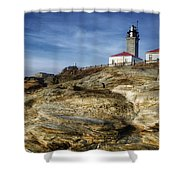 Morning At Beavertail Lighthouse Shower Curtain