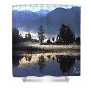 Morning At Lake Matheson Shower Curtain