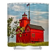 Morning At The Big Red Lighthouse Shower Curtain