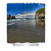 Morning Beach Reflections Shower Curtain