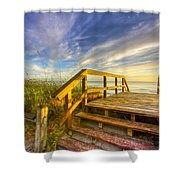 Morning Beach Walk Shower Curtain by Debra and Dave Vanderlaan