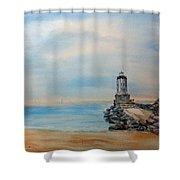 Angel's Gate Lighthouse Shower Curtain