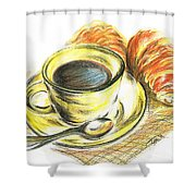 Morning Coffee- With Croissants Shower Curtain