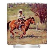 Morning Commute Working Cowboy Western Art Shower Curtain