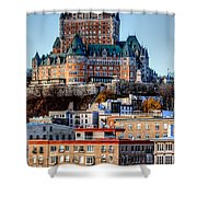 Morning Dawns Over The Chateau Frontenac Shower Curtain