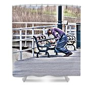 Morning Exercise On The Boardwalk Shower Curtain