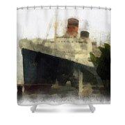Morning Fog Queen Mary Ocean Liner 01 Photo Art 01 Shower Curtain