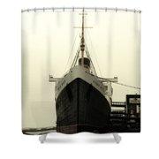 Morning Fog Queen Mary Ocean Liner Bow 02 Long Beach Ca Shower Curtain
