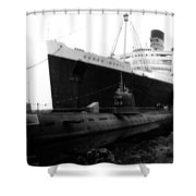 Morning Fog Russian Sub And Queen Mary 01 Bw Shower Curtain
