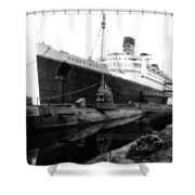 Morning Fog Russian Sub And Queen Mary 02 Bw Shower Curtain