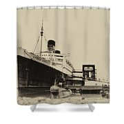 Morning Fog Russian Sub And Queen Mary Heirloom Shower Curtain