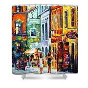 Morning Gossip - Palette Knife Oil Painting On Canvas By Leonid Afremov Shower Curtain