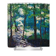 Morning Sunshine In Park Forest Shower Curtain